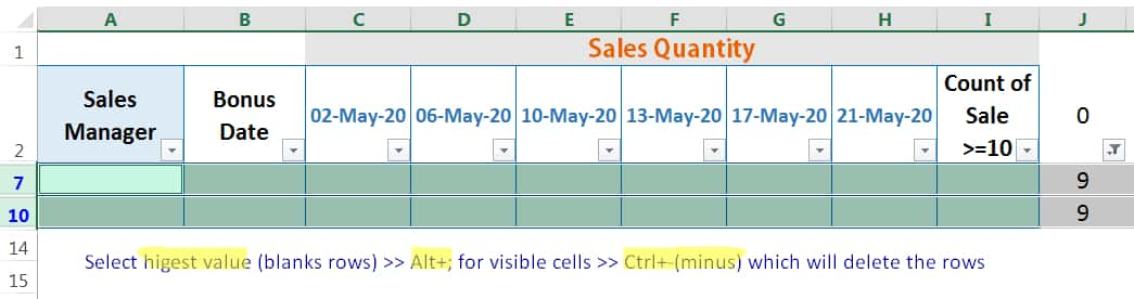 HOW TO DELETE BLANK ROWS IN EXCEL ➢ USING THE COUNTBLANK FUNCTION_5
