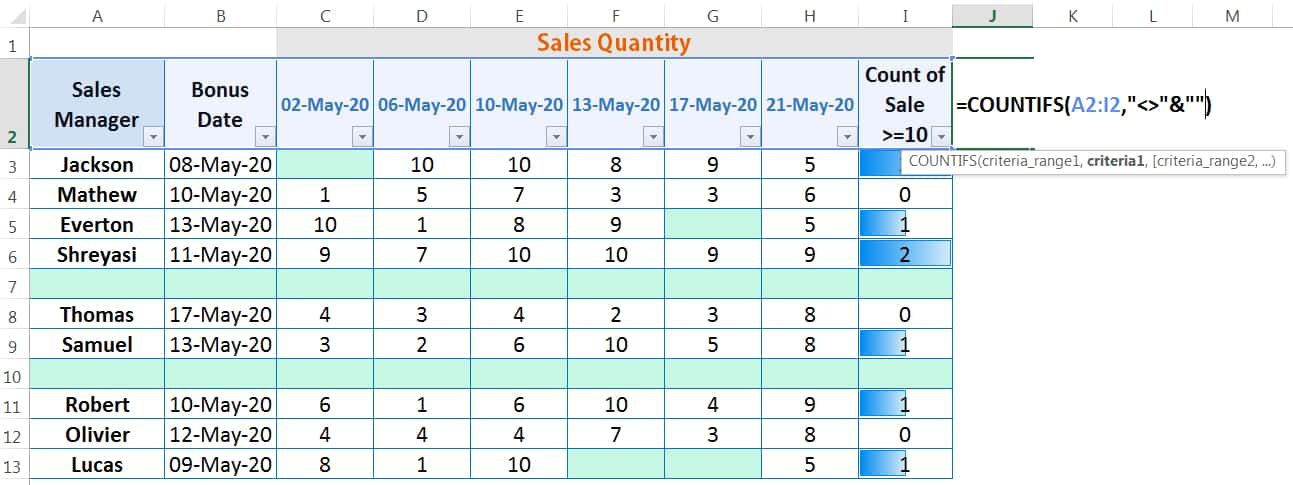 HOW TO DELETE BLANK ROWS IN EXCEL ➢ USING THE COUNTIFS FUNCTION_1