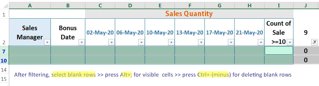 HOW TO DELETE BLANK ROWS IN EXCEL ➢ USING THE COUNTIFS FUNCTION_5