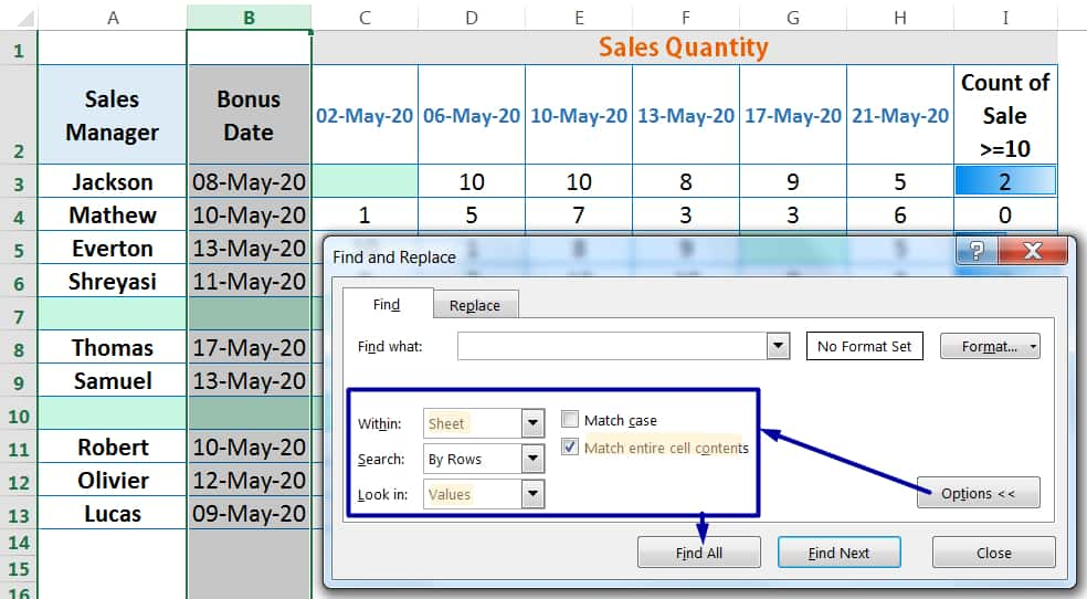 HOW TO DELETE BLANK ROWS IN EXCEL ➢ USING THE 'FIND AND REPLACE' DIALOG BOX_2