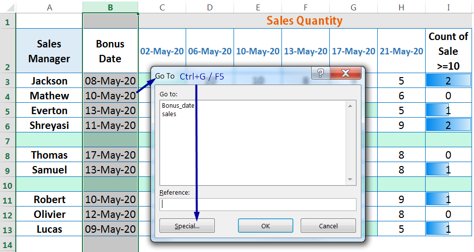 HOW TO DELETE BLANK ROWS IN EXCEL ➢ USING THE 'GO TO SPECIAL' BLANKS OPTION_4