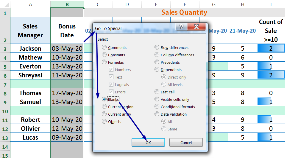 HOW TO DELETE BLANK ROWS IN EXCEL ➢ USING THE 'GO TO SPECIAL' BLANKS OPTION_5