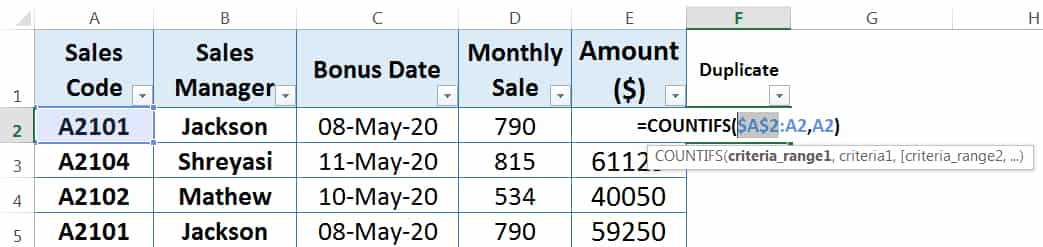 HOW TO FIND AND REMOVE DUPLICATES IN EXCEL ➢ USING COUNTIFS FUNCTION_12