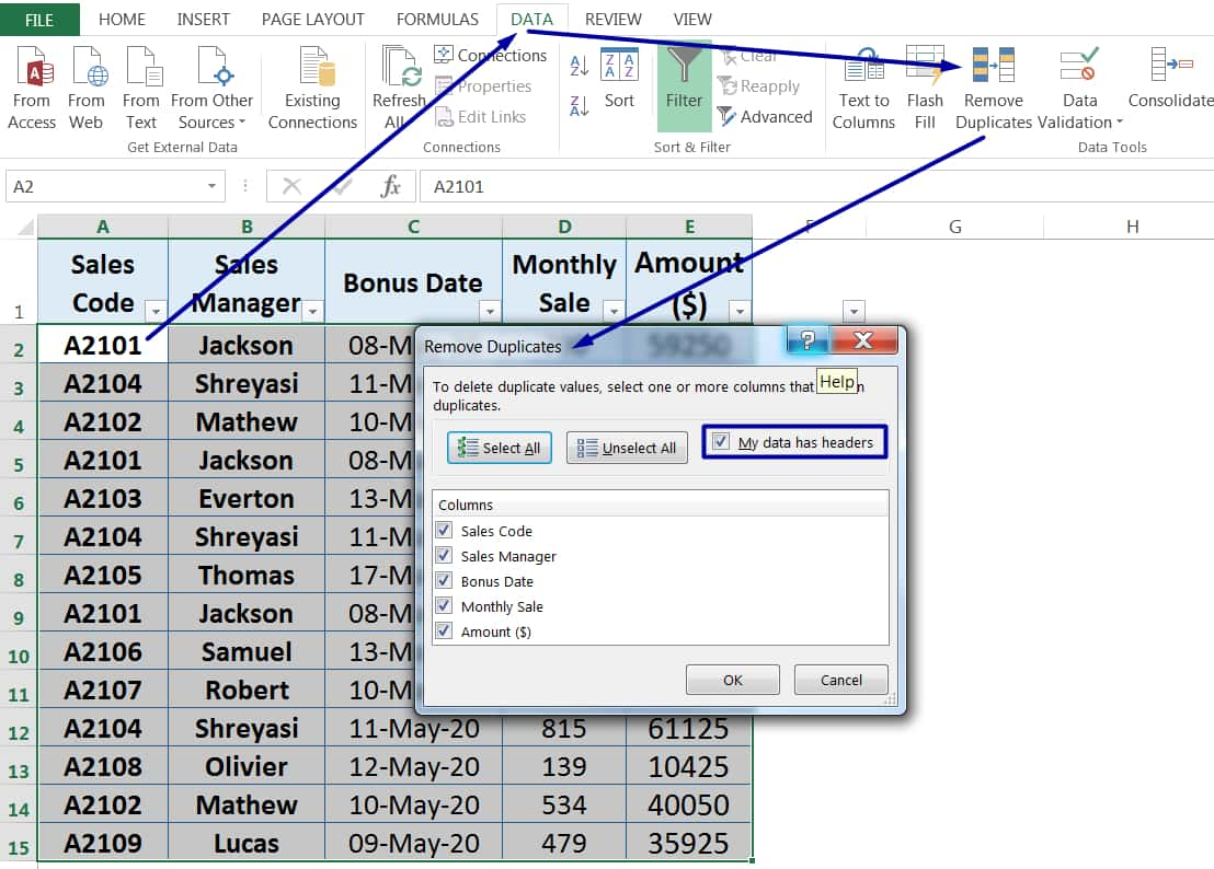 HOW TO FIND AND REMOVE DUPLICATES IN EXCEL ➢ USING 'REMOVE DUPLICATES' COMMAND_1