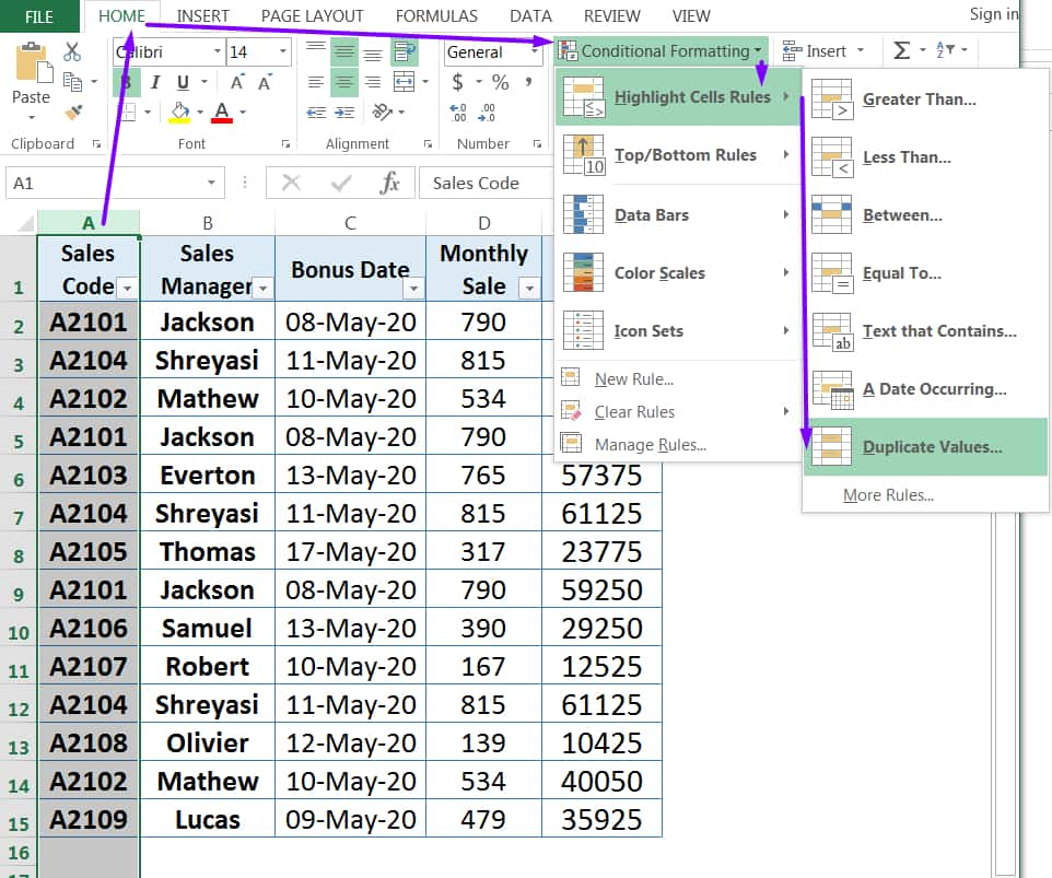 HOW TO FIND DUPLICATES IN EXCEL ➢ USING CONDITIONAL FORMATTING_1