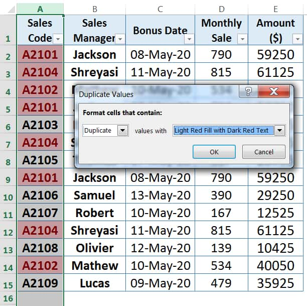 HOW TO FIND DUPLICATES IN EXCEL ➢ USING CONDITIONAL FORMATTING_2