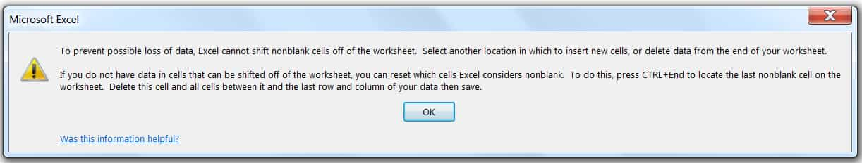 How to Insert Multiple RowsColumnsCells in Excel_Warning Message from from Excel