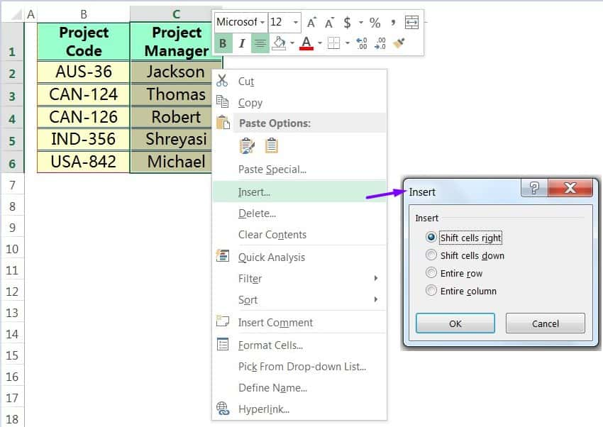 INSERT CELLS IN EXCEL USING THE MOUSE RIGHT-CLICK
