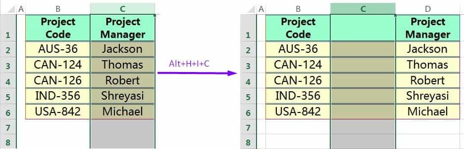 INSERT COLUMN IN EXCEL USING EXCEL SHORTCUT ALT+H+I+C