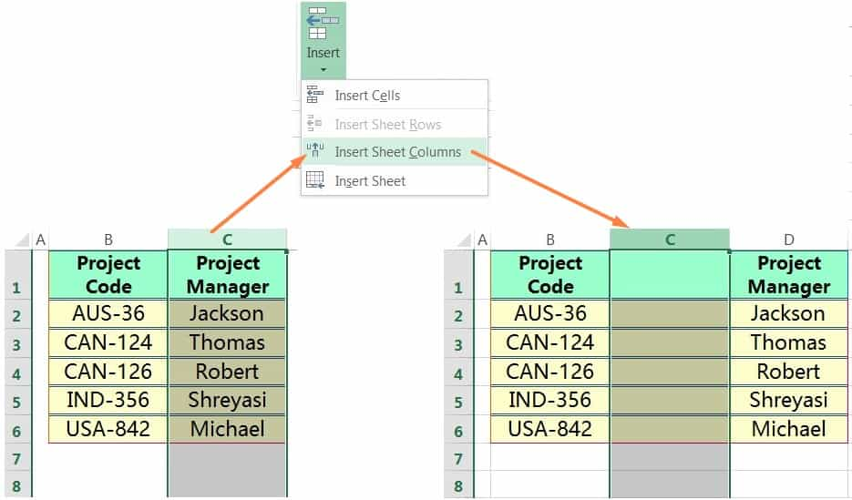 INSERT COLUMN IN EXCEL USING THE RIBBON
