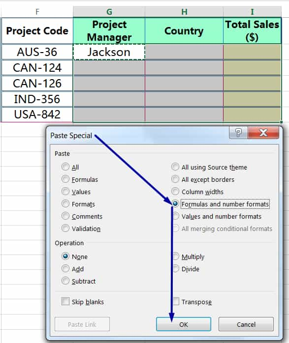 METHOD 1 HOW TO COPY FORMULA IN EXCEL ➢ USING 'FORMULAS AND NUMBER FORMATS' IN PASTE SPECIAL_1